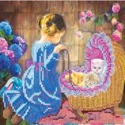 Рисунок на ткани для вышивки бисером Маленькая мама