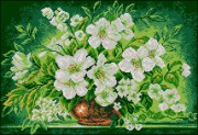 Схема вышивки бисером на габардине Букет цветов