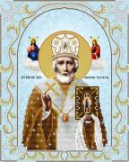 Схема для вышивки бисером на атласе Святой Николай Чудотворец (серебро)