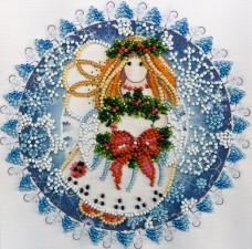 Набор для вышивки бисером на холсте Рождественский ангел Абрис Арт АМ-184