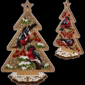 Набор для вышивки  бисером по дереву Снегири