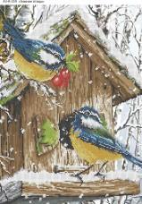 Схема для вышивки бисером на габардине Зимние птицы Acorns А3-К-359