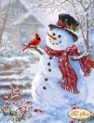 Рисунок на ткани для вышивки бисером Веселый снеговик