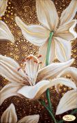 Схема вышивки бисером на атласе Золотые лилии