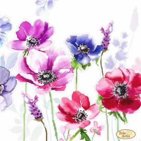 Схема для вышивки бисером на атласе Акварель. Анемоны, , 98.00грн., ТА-398, Tela Artis (Тэла Артис), Цветы