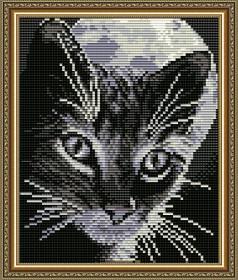 Набор для выкладки алмазной техникой Кот под луной, , 280.00грн., АТ5525, Art Solo, Алмазная мозаика