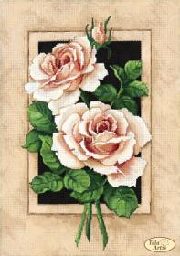Схема для вышивки бисером на атласе  Винтажные розы, , 95.00грн., ТА-382, Tela Artis (Тэла Артис), Цветы