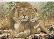 Схема для вышивки бисером на габардине Львиное семейство