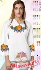 Заготовка вышиванки Женской сорочки на белом габардине Biser-Art SZ106