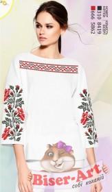 Заготовка вышиванки Женской сорочки на белом габардине Biser-Art SZ100 - 320.00грн.