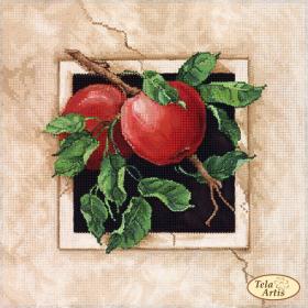 Схема для вышивки бисером на атласе Спелые яблоки, , 75.00грн., ТА-380, Tela Artis (Тэла Артис), Пейзажи и натюрморты