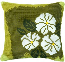 Набор для вышивки подушки крестиком Белые цветы Чарiвна мить (Чаривна мить) РТ-173