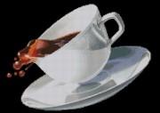 Схема вышивки бисером на габардине Чашка кофе