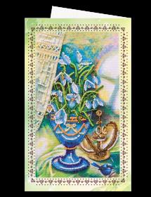 Набор для вышивки бисером Открытка-конверт Пролески