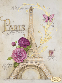 Схема для вышивки бисером на атласе Из Парижа с любовью, , 95.00грн., ТА-397, Tela Artis (Тэла Артис), Цветы