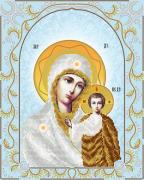 Схема для вышивки бисером на атласе Богородица Казанская (серебро)