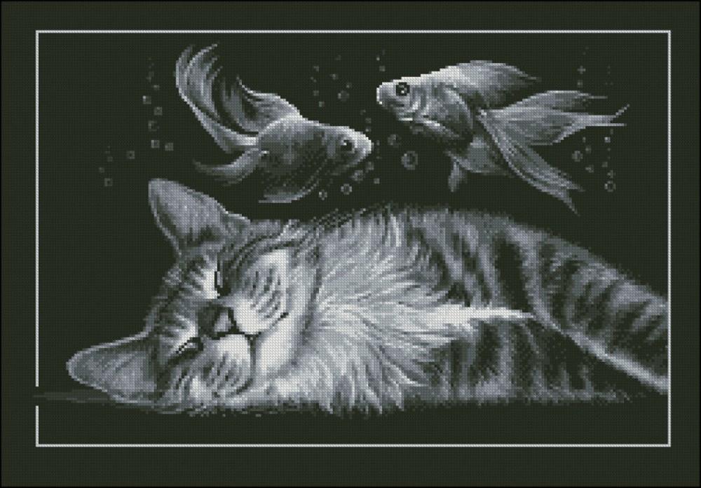 Схемы вышивки сон кота