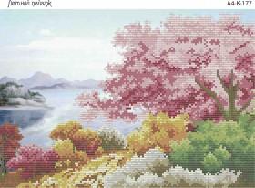 Схема для вышивки бисером на габардине Летний пейзаж