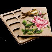 Органайзер с крышкой под вышивку бисером Птичка