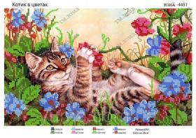 Схема вышивки бисером на атласе Котик в цветах