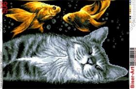 Схема вышивки бисером на габардине Кіт та золоті рибки