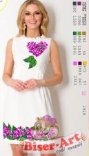 Заготовка женского платья на белом льне Biser-Art Bis70115