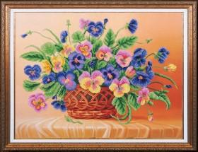 Набор для вышивки бисером Анютины глазки, , 515.00грн., Б-258 МК, Магия канвы, Цветы