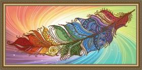 Схема вышивки бисером на авторской канве Перо жар-птицы на светлом