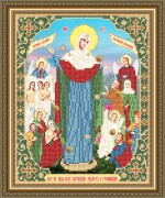 Схема вышивки бисером на габардине Образ Пр. Богородицы Всех Скорбящих в радости с грошиками