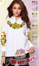 Заготовка вышиванки Женской сорочки на белом габардине Biser-Art SZ102