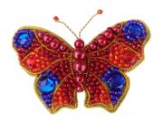 Набор для изготовления броши из бисера Бабочка (Красно-синяя)