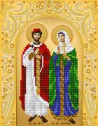 Рисунок на ткани для вышивки бисером Святые мученики Пётр и Февронья (золото)