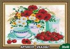 Рисунок на ткани для вышивки бисером Натюрморт. Вишня Art Solo VKA3061