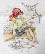 Набор для вышивки крестом Девочка с голубями