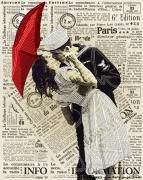 Схема  вышивки бисером на атласе Поцелуй