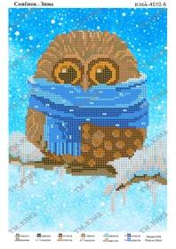 Схема вышивки бисером на атласе Совенок зима