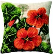 Набор для вышивки подушки крестиком Настурции