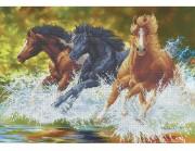 Схема вишивкі бісером на габардині Бегущие лошади