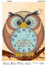 Схема вышивки бисером на атласе Часы - сова
