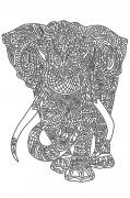 Схема вышивки бисером на атласе Слон (на белом)
