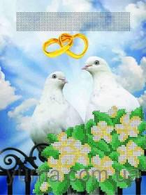 """Схема вышивки бисером на атласе Свадебная метрика """"Голубки"""", , 40.00грн., ЮМА-435, Юма, Метрики"""
