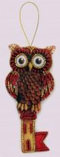 Набор для изготовления игрушки из фетра для вышивки бисером Сова-ключ Баттерфляй (Butterfly) F136