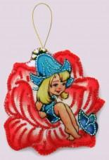 Набор для изготовления игрушки из фетра для вышивки бисером Дюймовочка Баттерфляй (Butterfly) F119