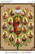 Рисунок на габардине для вышивки бисером Древо Пресвятої Богородиці