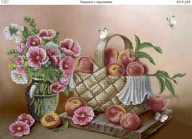 Схема для вышивки бисером на габардине Корзина с персиками, , 70.00грн., А3-К-228, Acorns, Пейзажи и натюрморты
