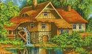 Схема вышивки бисером на габардине Будинок біля озера