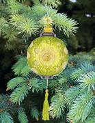 Набор для вышивки нитками Новогодняя игрушка Желто-зеленый фонарик