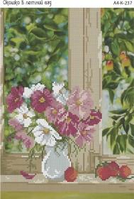 Схема для вышивки бисером на габардине Окошко в летний сад
