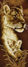 Схема для вышивки бисером на атласе Мамина любовь. Львы А-строчка АХ2-065