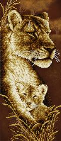 Схема для вышивки бисером на атласе Мамина любовь. Львы